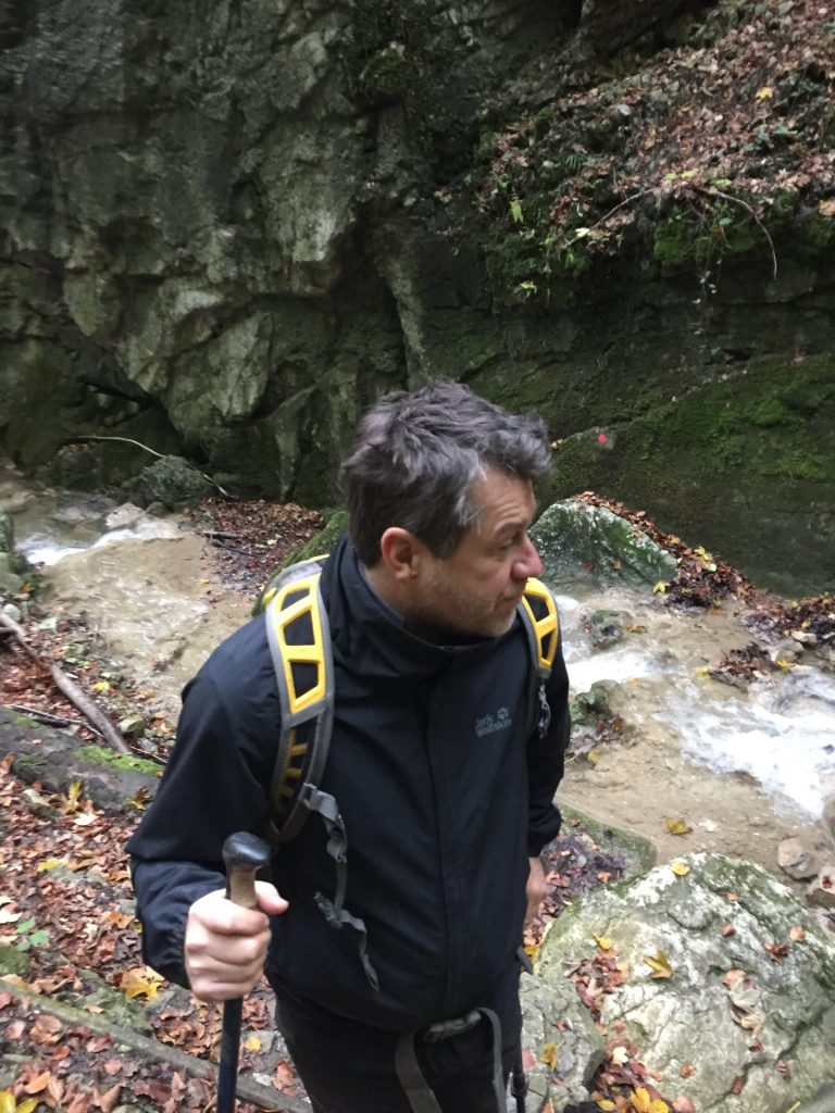 Robert inspecting the waterfall