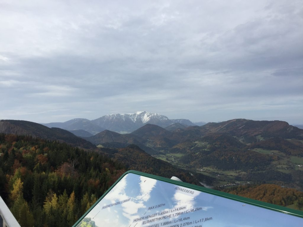 """View towards """"Schneeberg"""" from the viewpoint tower"""