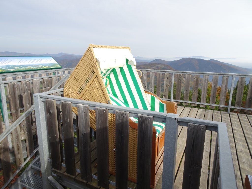 The relaxing seats on the top of the viewpoint tower