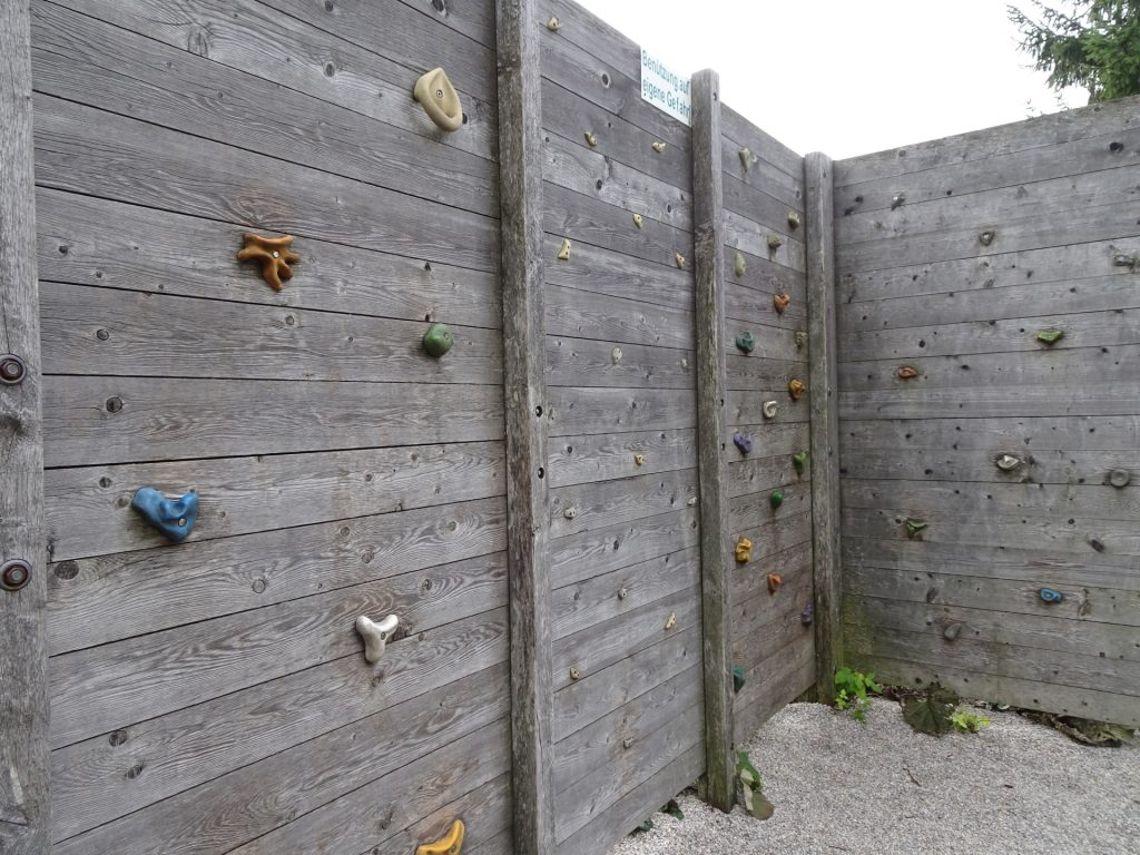 The climbing wall at the playground
