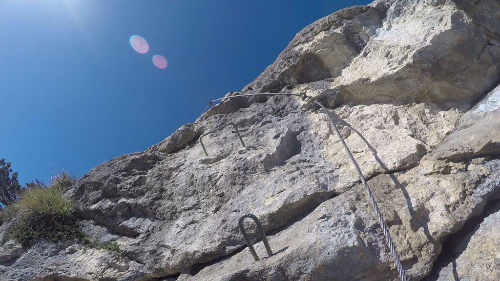 GV-Steig: The second crux (slighly overhanging climb) at the headwall ((14), D)