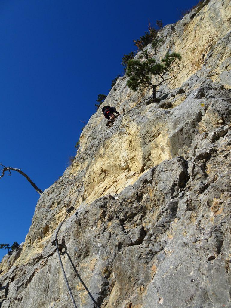 "GV-Steig: Bernhard does the lead climb at ""Weningerwand"" ((3 & 4), B/C & C/D)"
