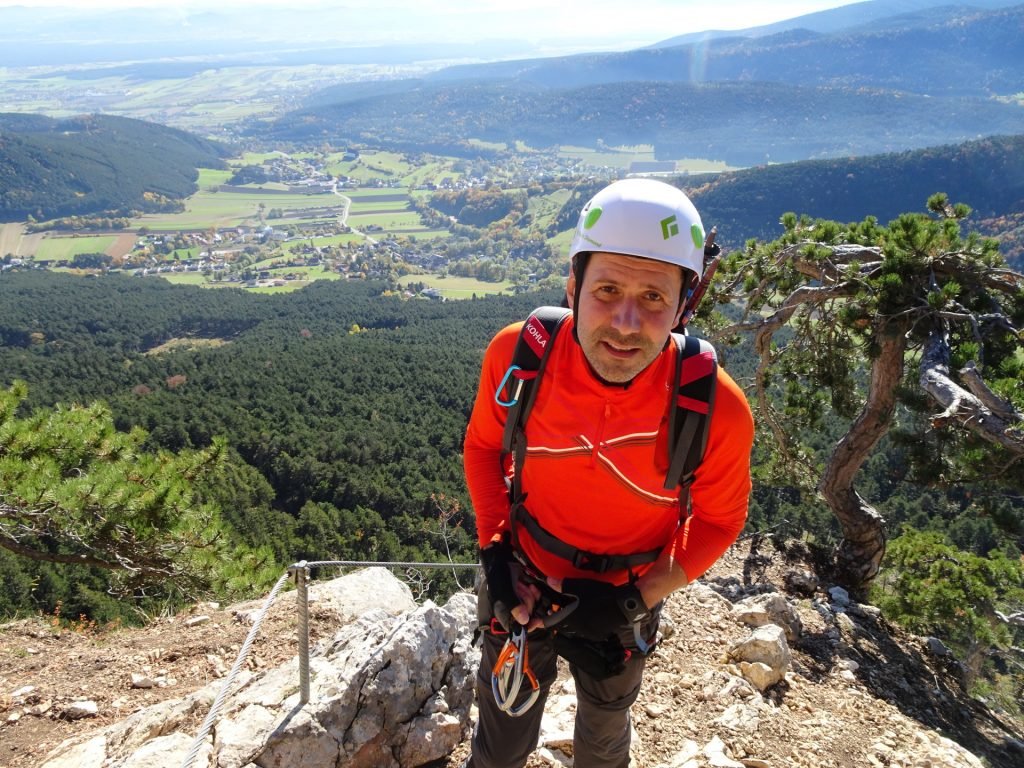 GV-Steig: Hans arrives at the rest area after the crux - obviously a bit exhaused