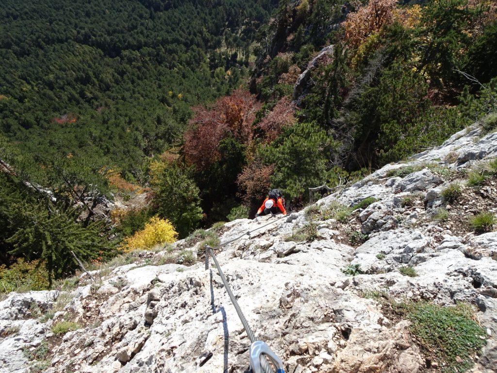 GV-Steig: Hans climbing up the crux ((14), D)