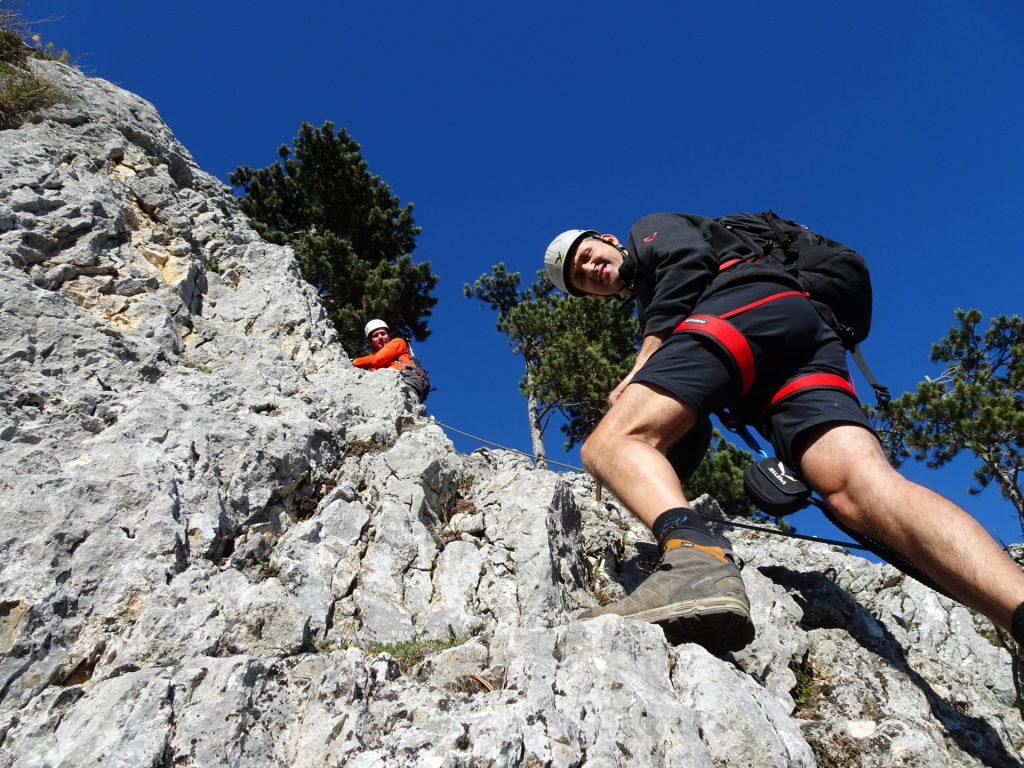 Steirerspur: Bernhard and Hans climbing downwards (A, A/B)