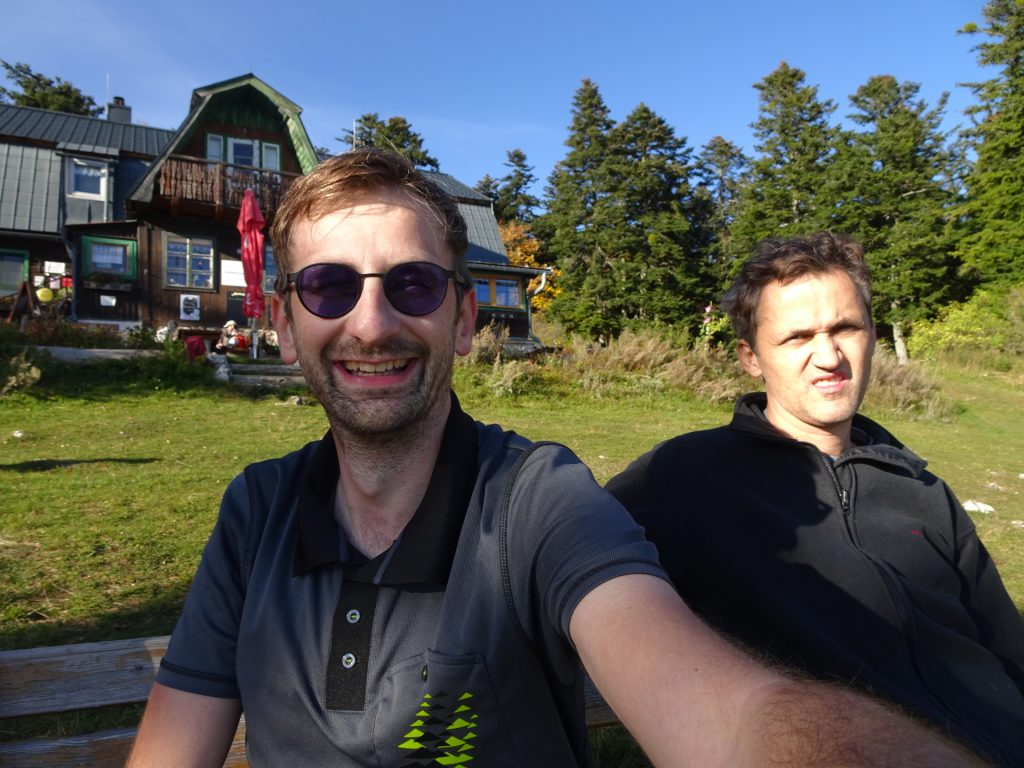 "Stefan and Bernhard enjoy a break at ""Hubertushaus"""