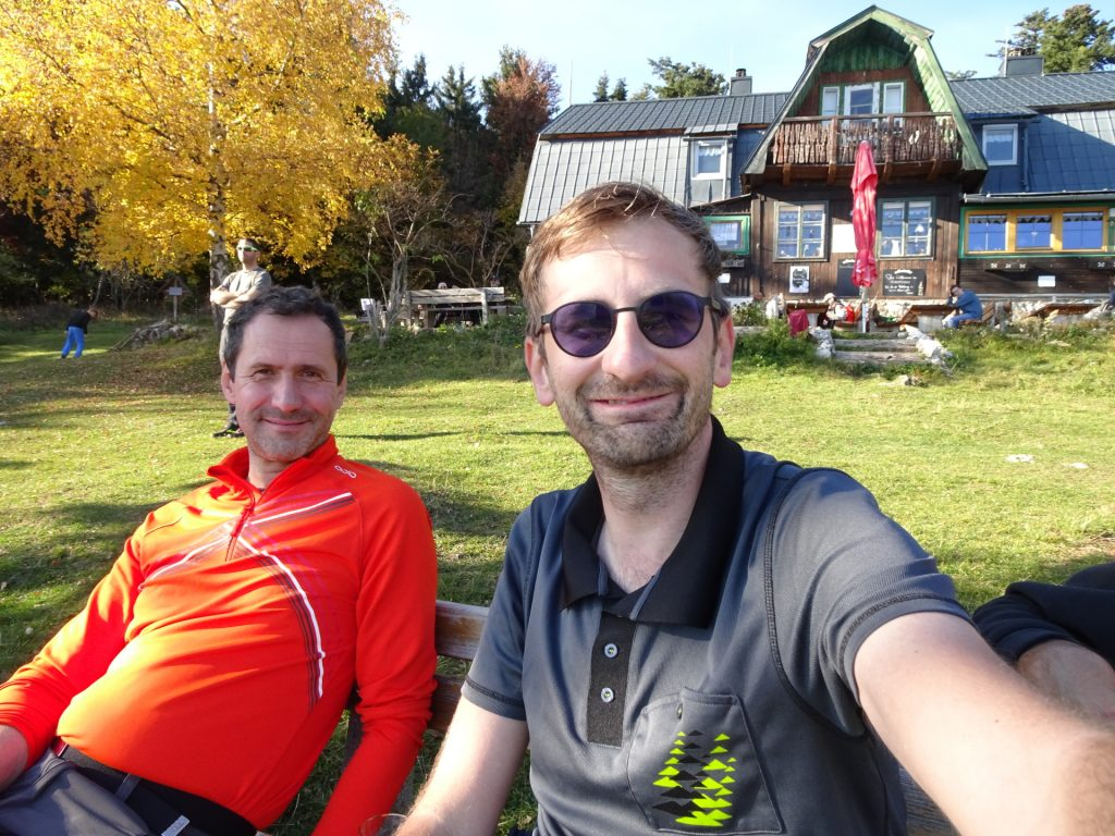 "Hans and Stefan enjoy a break at ""Hubertushaus"""