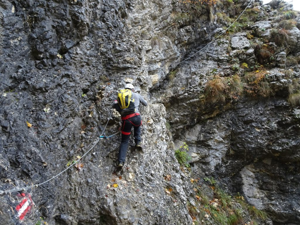 """Robert climbs up first the """"Hoyossteig"""" via ferrata"""