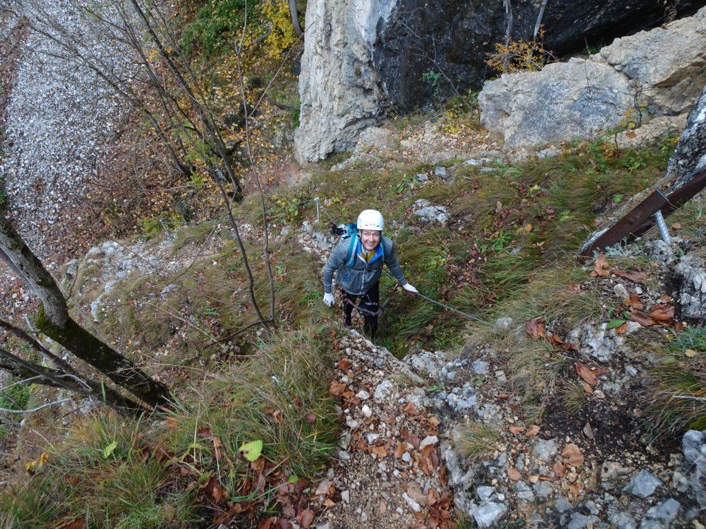 """Herbert at the """"Hoyossteig"""" via ferrata (after the start)"""