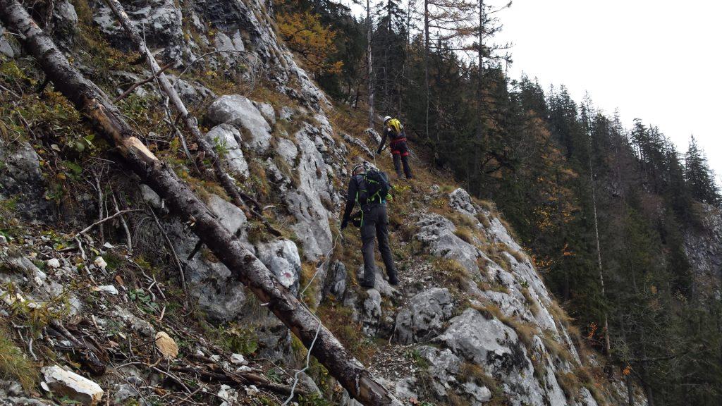 """Robert and Stefan climbing up the """"Hoyossteig"""" via ferrata"""