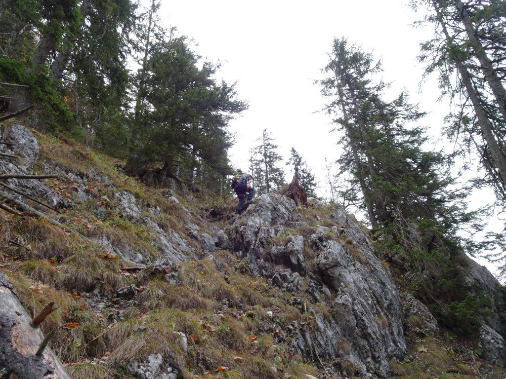 Robert does the lead climb