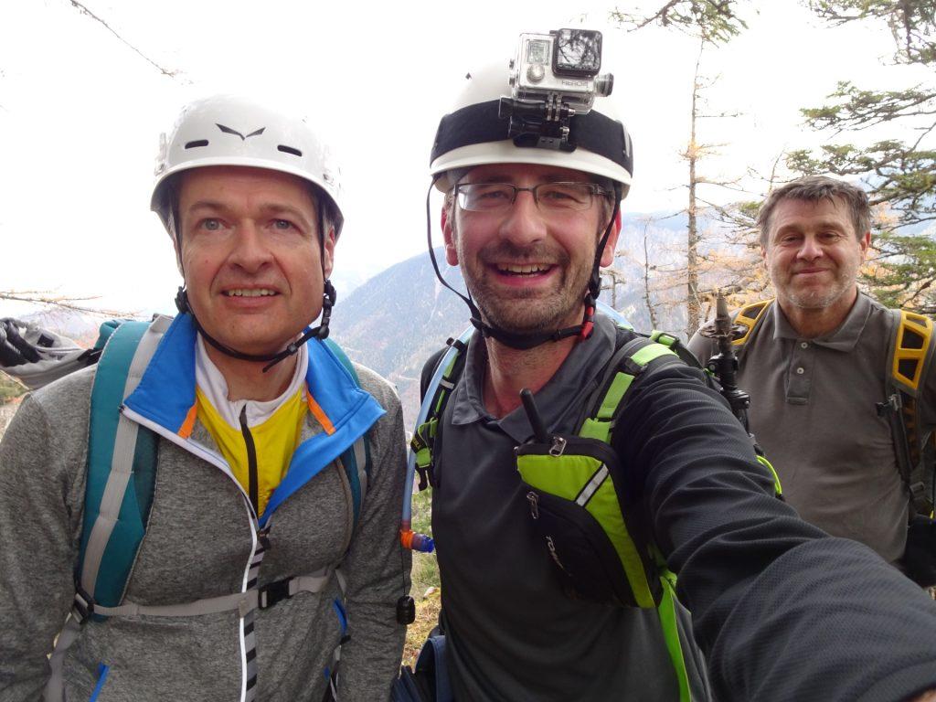 """Herbert, Stefan, Robert enjoying the trip at """"Hoyossteig"""""""