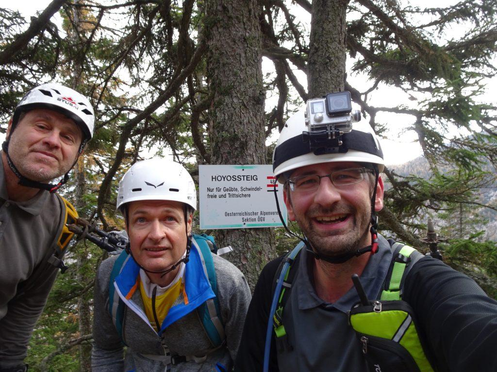 """Robert, Herbert and Stefan at the upper end of """"Hoyossteig"""" via ferrata"""