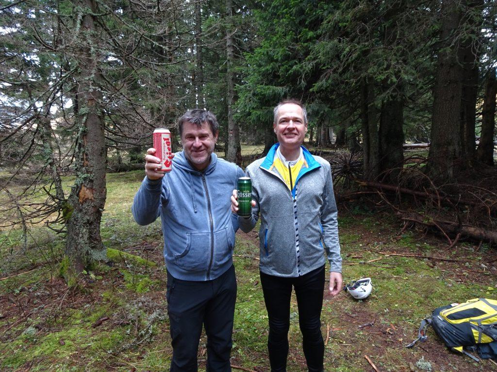 Robert and Herbert celebrating at the crossing