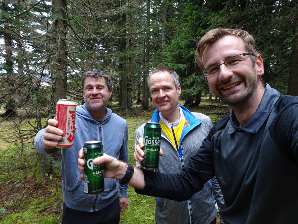 "Robert, Herbert and Stefan are celebrating ascent via ""Hoyossteig"""