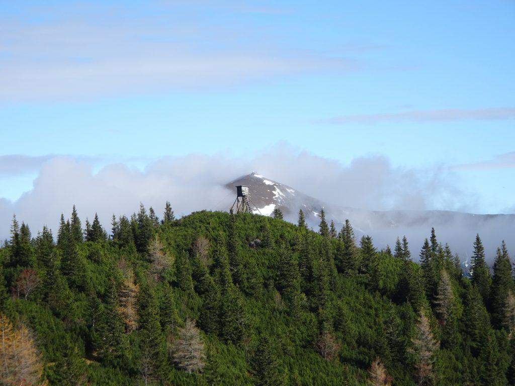 Impressive hunter's hut seen from the trail