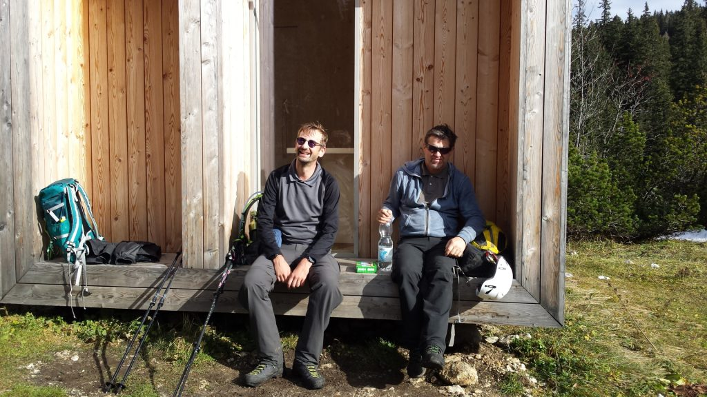 """Stefan and Robert enjoying the sun at """"Dirnbacherhütte"""""""