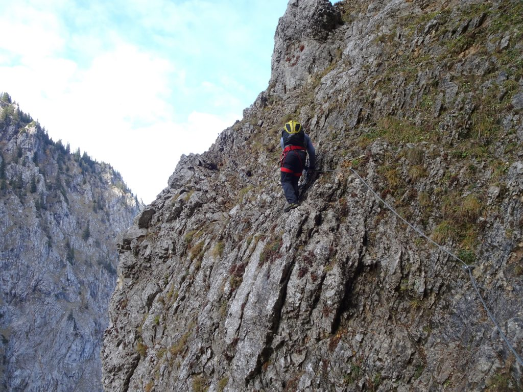 """Robert at one of the many extremely exposed traverses of """"Gustav-Jahn-Steig"""""""