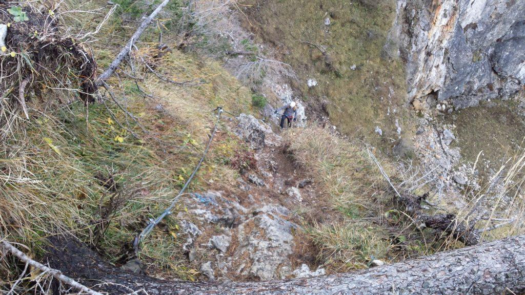 """Robert climbing up the """"AV-Steig"""""""