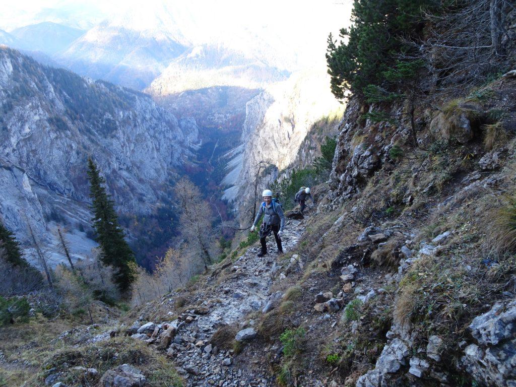 """Herbert and Robert climbing up the """"AV-Steig"""""""
