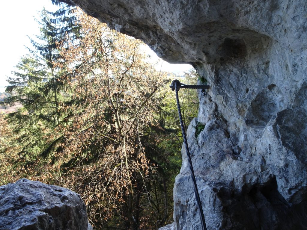 Leaving the cave towards the ladder (crux)