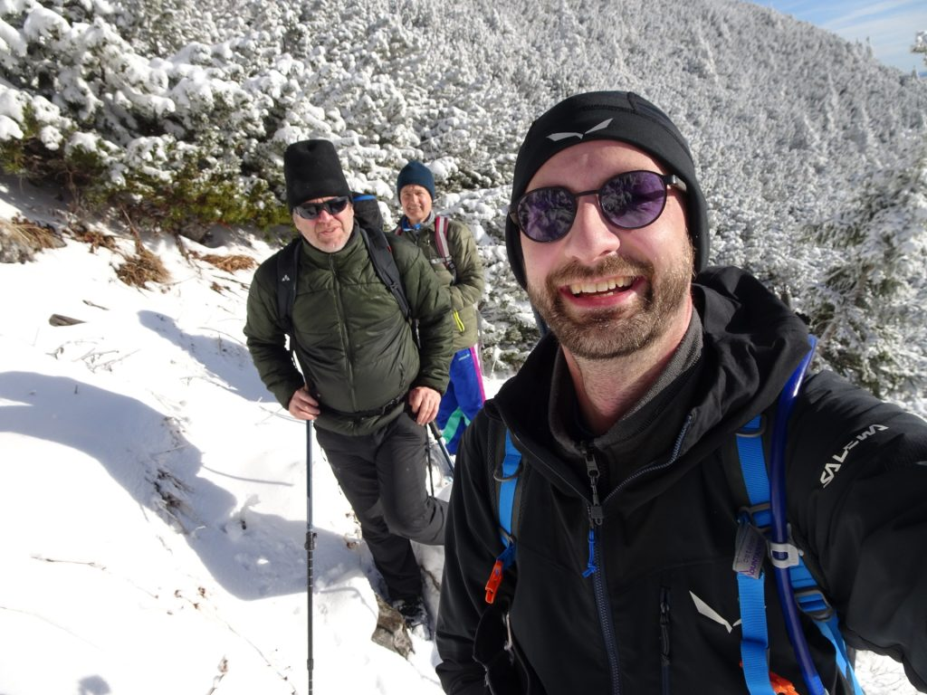 Stefan, Robert and Herbert enjoying the hike through winter wonderland