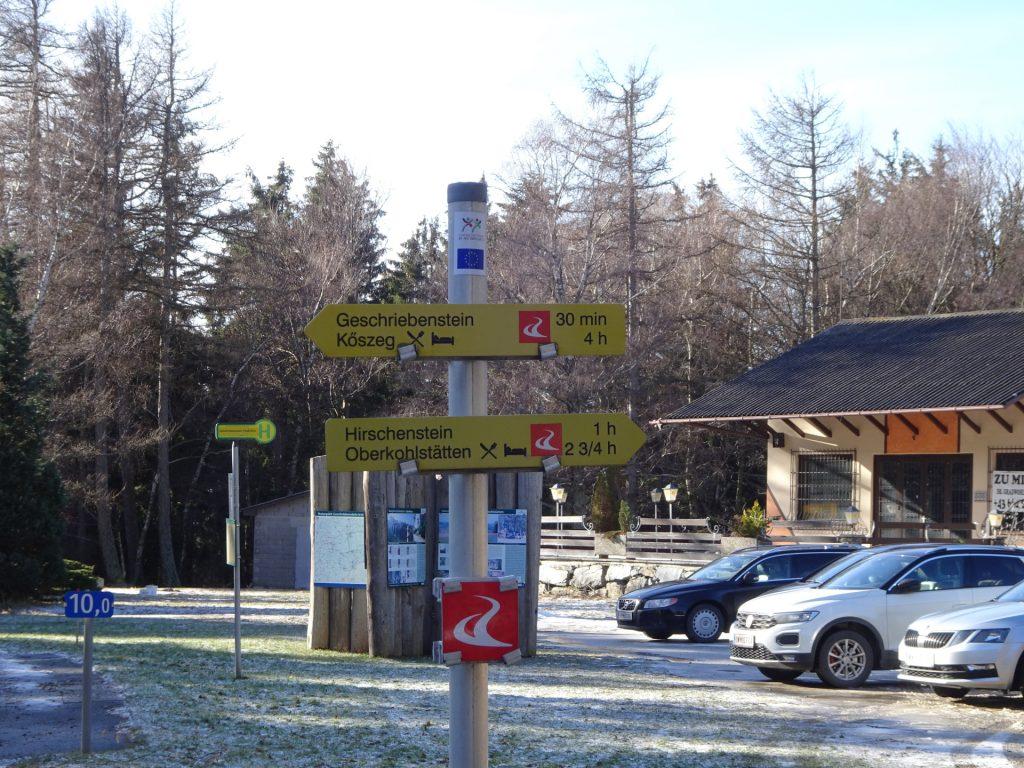 """Crossing the street at the """"Ranch"""" between """"Geschriebenstein"""" and """"Hirschenstein"""""""